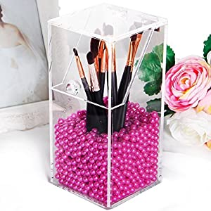 Langforth Boîte de Rangement Organisateur Transparent en Acrylique de Bricolage Brosses Cosmétique Etanche à la Poussière avec Perles Roses Brillantes Gratuites -Petit