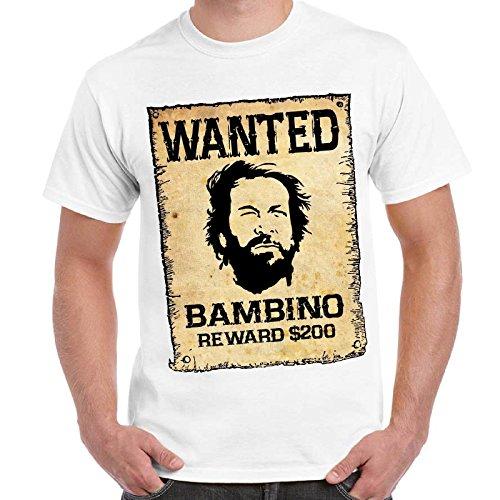 CHEMAGLIETTE! - T-Shirt Divertente Vintage Bud E Terence Maglietta Lo Chiamavano Trinita' Wanted, Colore: Bianco, Taglia: L
