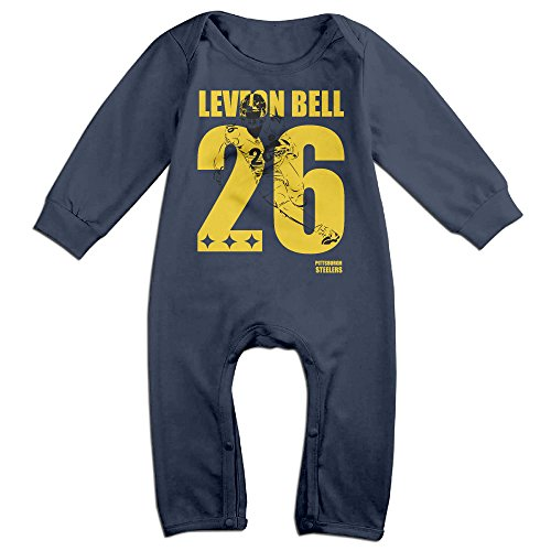 NORAL Babys Pittsburgh #26 Football Player Long Sleeve Bodysuit Baby Onesie Navy Size 12 Months