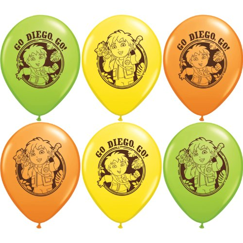 "Pioneer National Latex Go Diego Go 12"" Latex Balloons, 6 Count"