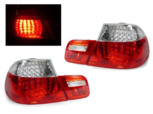 A Pair Of Depo Red And Clear Lense Led Tail Lights - Bmw 3-Series E46 2Dr 1999-2003