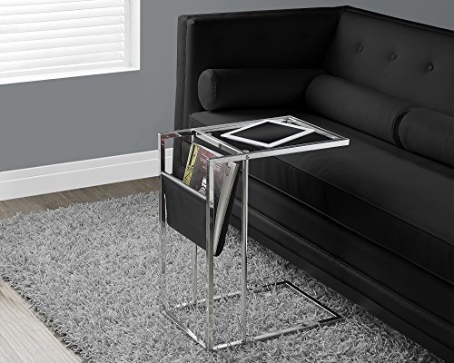 Monarch Specialties Black/Chrome Metal Accent Table with a Magazine Holder (Console Table With Metal compare prices)