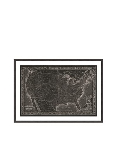 Oliver Gal United States of America Map 1864 Framed Art Print