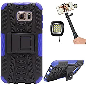 DMG Heavy Duty Mesh Protection Dual Layer Back Cover Case with Kickstand for Samsung Galaxy S6 (Blue) + 3.5mm Continuous LED Spotlight Flash