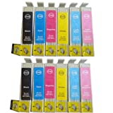 12 Compatible Printer Ink Cartridges for Epson Stylus Photo 1400 1500 1500W *2 Full Sets*