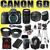 Canon EOS 6D 20.2 MP Full-Frame CMOS Digital SLR Camera w/ Canon EF 75-300mm f/4-5.6 III Telephoto Zoom Lens + Canon EF 50mm f/1.8 II SLR Lens LP-E6 Replacement Lithium Ion Battery w/ External Rapid Charger 16GB SDHC Class 10 Memory Card 58mm Wide Angle / Telephoto Lenses Filter Kit Full Size Tripod External Slave Flash Deluxe SLR Backpack Mini HDMI Cable Deluxe Starter Kit DavisMAX Bundle