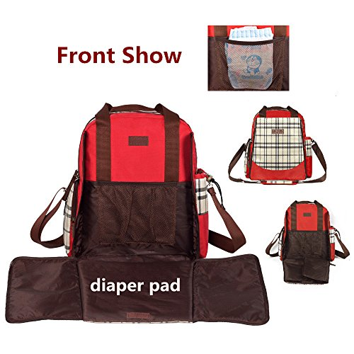 Classic Plaid Multifunction Large Capacity Hand Bag Shoulder Bag Backpack Baby Diaper Baby Care Product (Blue)