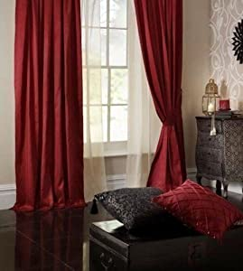 Superb Quality 66x108 Red Faux Silk Ring Top Fully Lined Curtains *tur* by Curtains