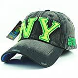 Unisex American Baseball Style Florescent Green & Black Denim New York Air Force Ladies Mens Cap