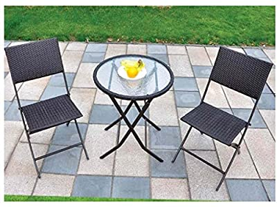 3 Piece Rattan Garden Patio Furniture Conservatory Glass Table & 2 Chairs Set Contemporary Outdoor Living Garden Conservatory Patio Summer Innovative Comfort