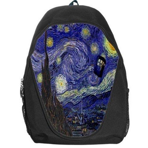 Doctor Who Tardis Police Call Box Starry Night Van Gogh Backpack Bag