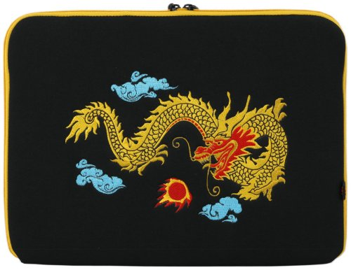 15 inch Embroidered Chinese Golden Dragon Netbook Notebook Laptop Sleeve Bag Carrying Case for Macbook, Acer, ASUS, Dell, HP