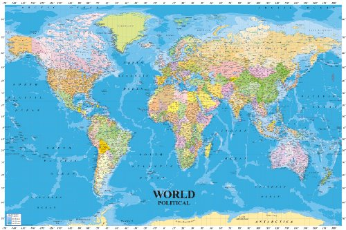 huge-laminated-encapsulated-map-of-the-world-with-sea-contours-measures-36-x-24-inches-915-x-61-cm