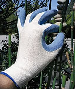 Gardening gloves bamboo fit blue home for Gardening gloves amazon