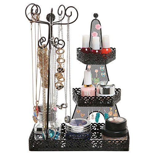 3 Tier Black Metal Makeup Organizer Rack / Necklace Jewelry Hanger / Nail Polish Display Stand - MyGift (Nail Polish Jewelry compare prices)