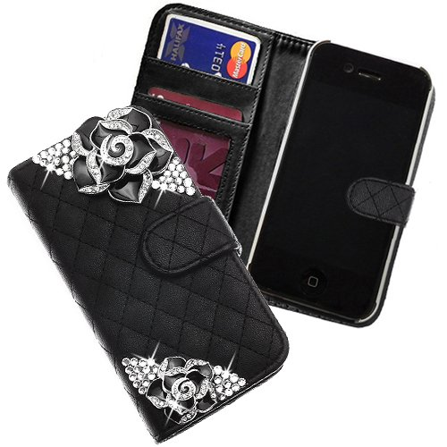 """Xtra-Funky Exclusive Faux Leather Quilted Purse Wallet Style Case With 2 Beautiful Crystal Encrusted Roses For Iphone 6 (4.7"""") - Black"""