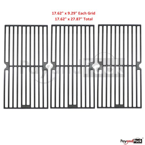 67233 (3-Pack) Gas Grill Replacement Parts Matte Cast Iron Cooking Grid Grate For Brinkmann, Grill King Model Grills