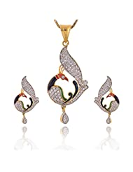 Yellow Chimes Collection: American Diamond Studded Pendant Set In Peacock Design