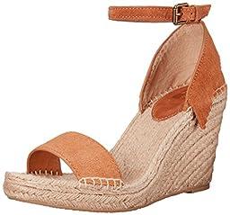 FRYE Women\'s Lila Feather Espadrille Wedge Sandal, Sand, 8.5 M US