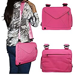 DMG Padwa Lifestyle Shockproof Soft Sleeve Pouch Carrying Envelope Bag canvas Case with Handle and Shoulder Strap for 10in Tablets/Netbooks/iPad/Android Tablets (Magenta)