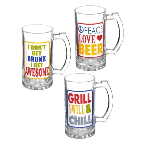 Grasslands Road Glass Beer Stein, 15-Ounce, Assortment, Set Of 6