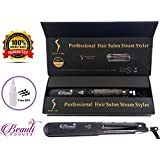 Steam Hair Straightener, work with Argan Oil Infusion Treatment, Professional High quality Tourmaline ceramic plate, 2 in 1 hair curling & hair flat iron, 360°Swivel Cord, Dry & Wet Hair, 450ºF max