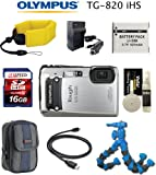 Olympus Tough TG-820 iHS (Silver) Waterproof/Shockproof 12MP 5x Wide-Angle 28-140mm Lens + Floating Strap + Battery + 16BG Card + Flexible Gripping Tripod + Case + Card Reader + Cleaning kit + Travel Charger