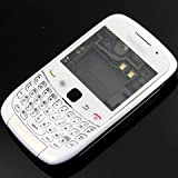 [Aftermarket Product] Brand New White Housing Faceplate Front Bezel Cover Case Fascia Plate Frame+Middle Chasis+Bottom+Back Battery Cover Door+Keyboard+Keypad+LCD Screen Lens+Buzzer Loudspeaker+Earpiece Speaker+Antenna FOR BlackBerry Curve 3G 9300