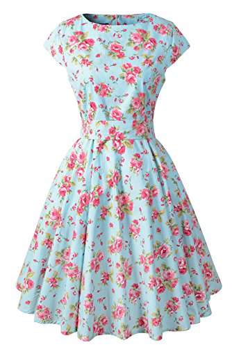 Chicanary Women's Cap Sleeve Vintage Tea Dress with Belt Green Large (Old Dresses For Women compare prices)