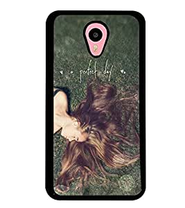 Printvisa Relaxing Girl With A Perfect Day Quote Back Case Cover for Meizu m2 note::Meizu Blue Charm Note2