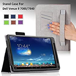 For Dell Venue 8 7000/7840 series 8.4-inch Tablet Premium QUALITY PU LEATHER FOLIO PROTECTIVE SMART CASE, COVER, STAND with MICROFIBER INNER, Hand Strap and Credit Cards / ID Holders! BLACK.