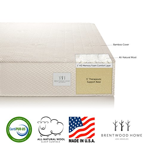 Brentwood 6″ Extra Firm HD Memory Foam Mattress – 100%