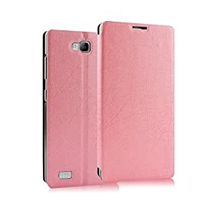 Heartly Premium Luxury PU Leather Flip Stand Back Case Cover For Huawei Honor 3C - Pink