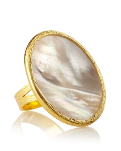 Argento Vivo Large Flat Round Mother of Pearl Ring As You See
