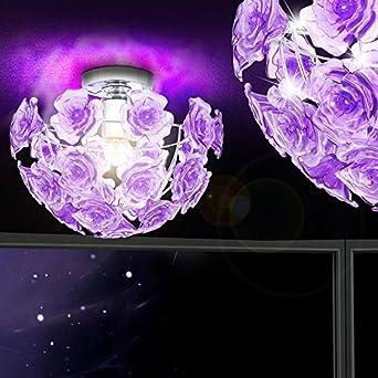 Deckenlicht Deckenlampe Lampe Wohnzimmer Rosen Blüten Inklusive 5,5 Watt  Philips LED   Us55