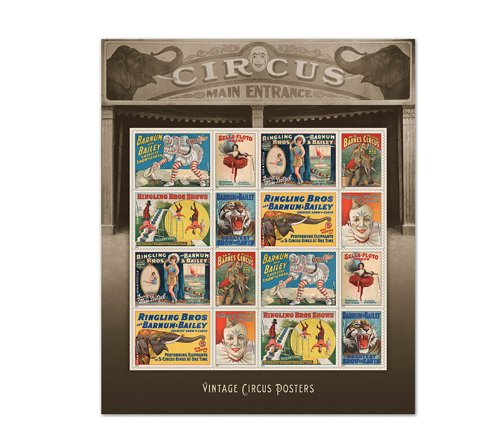 Vintage Circus Posters 16 Forever Postal Postage Stamps Ringling Bros, Barnum & Bailey Greatest Show on Earth, Barnes Circus, Clown, Acrobatic Gymnasts, Graceful Wire Dancers, Flying Trapeze, Tigers, Elephants, Big Tent, Ring Master, Stunt Men