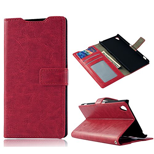 Z3 Case, Sony Xperia Z3 Case - Mollycoocle Fashion Style Colorful Wallet Style Credit Card Holder Case Magnetic Design Flip Folio Pu Leather Cover Standup Cover Case For Sony Xperia Z3(Red)
