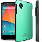 Nexus 5 case, Caseology® [Matte Hybrid] [Turquoise Mint] Premium PU Leather Cover [Shock Absorbent TPU] Nexus 5 case