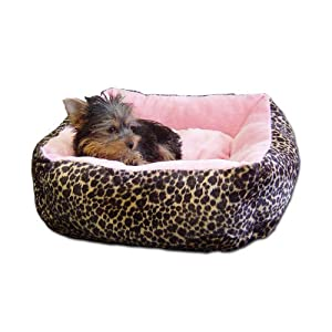 Anima Pink Ultra Plush Leopard Print Bed with Removable Pillow, 16 by 16 by 5.5-Inch
