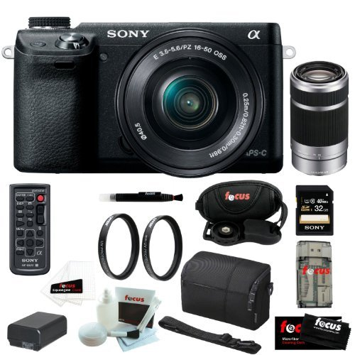 """Sony Nex-6 16.1Mp Compact Interchangeable Lens W/ 3"""" Led Screen Digital Camera In Black W/ 16-50Mm Power Zoom Lens & 55-210Mm Nex System Zoom Lens + 32Gb Accessory Kit"""