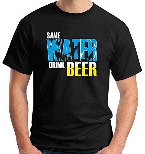 Cotton Island - T-shirt BEER0114 save water drink beer dark tshirt, Taglia small