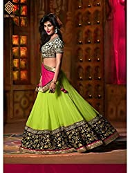 Womens Latest Embroided Georgette Designer Lehenga choli By Maahi Fashion(parrot black)