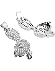 2 High Quality Silver Cute Bunny Charms/Pendants With Cubic Zirconia Pave (Satisfaction Guaranteed) MCAC24