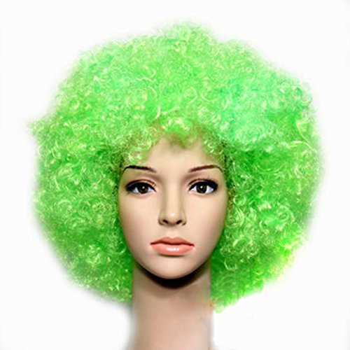 Party Cosplay Quirky Wig Periwig Wild-curl up Curly Clown Costumes, Green