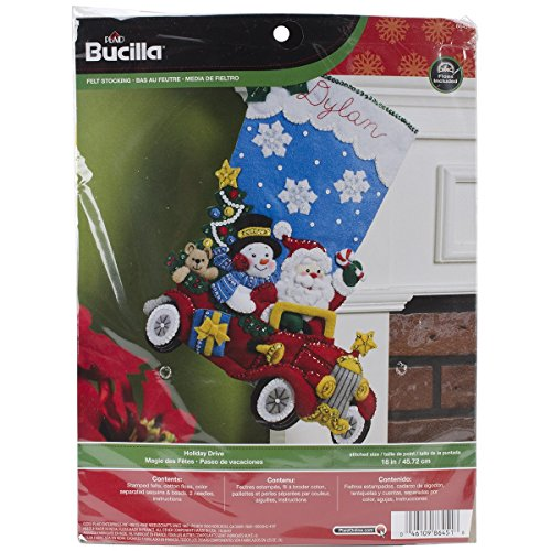 Bucilla 18-Inch Christmas Stocking Felt Applique Kit, Holiday Drive