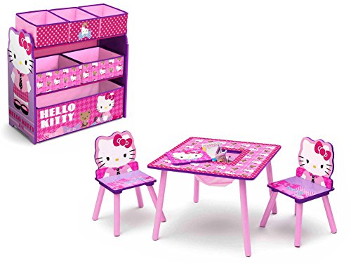 Delta Children Hello Kitty Table and Chair Set with Storage and Hello Kitty 6-Bin Toy Organizer/Storage (Hello Kitty Bows V Neck Top compare prices)