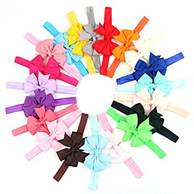 Mokale Fashion Baby Girls Grosgrain Ribbon Headbands Boutique Hair Accessories Stretchy Elastic Bands with Chiffon Hair Bows Head Wear for Toddlers Teens Kids Pack of 20