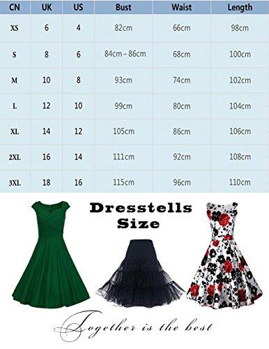 Dresstells Women 1950s Retro rockabilly dress Vintage Audrey Swing Dress Black White Dot 3XL
