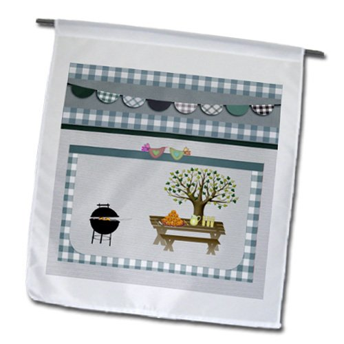 Fl_182719_1 Beverly Turner Picnic Design - Barbeque Pit, Picnic Table With Platter And Lemon Aid, Blue Gingham - Flags - 12 X 18 Inch Garden Flag