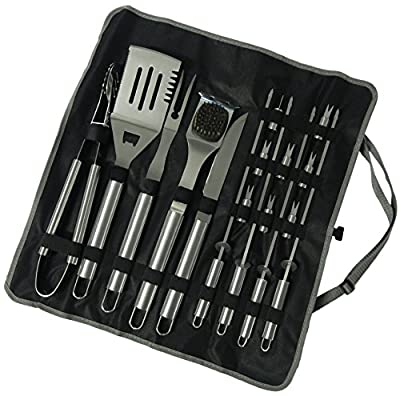 17 Piece Stainless Steel BBQ Grill Set - Barbecue Accessories Grilling Kit Set - by Simplistex®